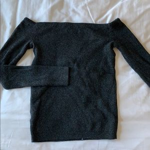 Gray rubbed off the shoulder knit sweater